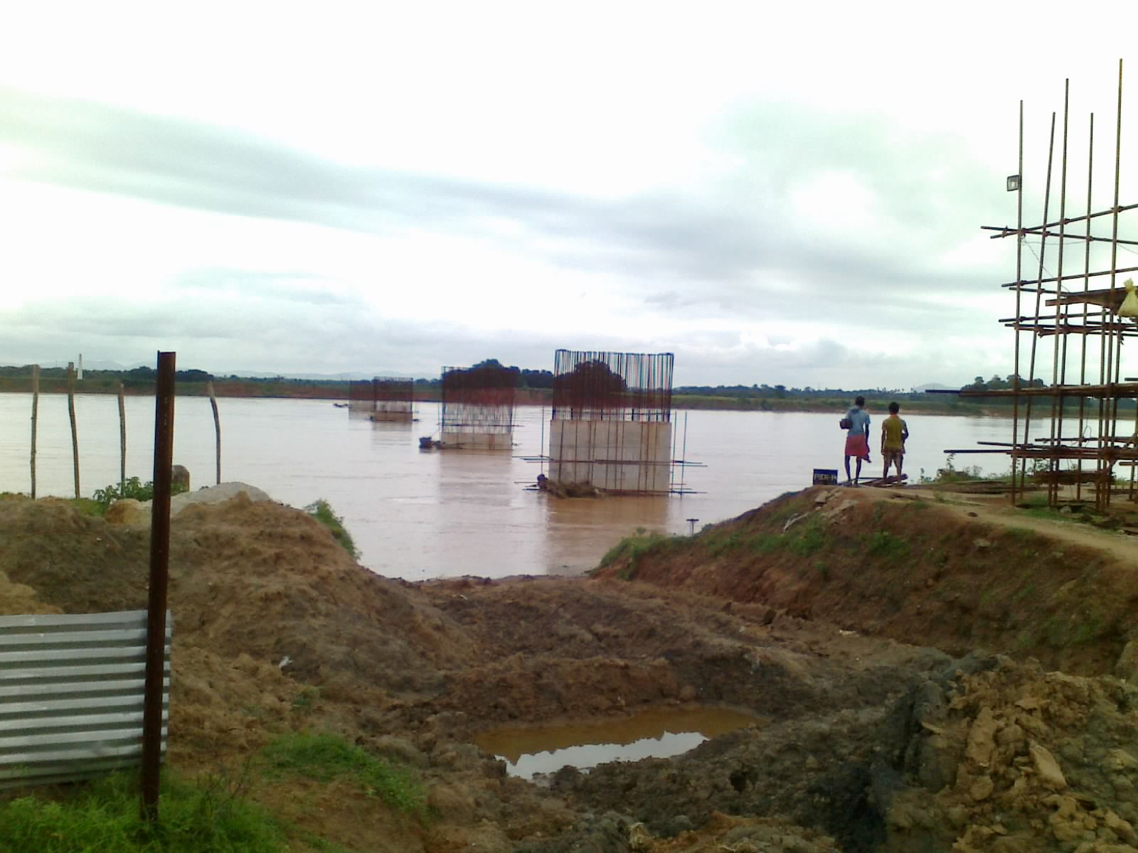 Ongoing Rail Bridge work on Brahmani River for Angul-Sukinda Rail Line.