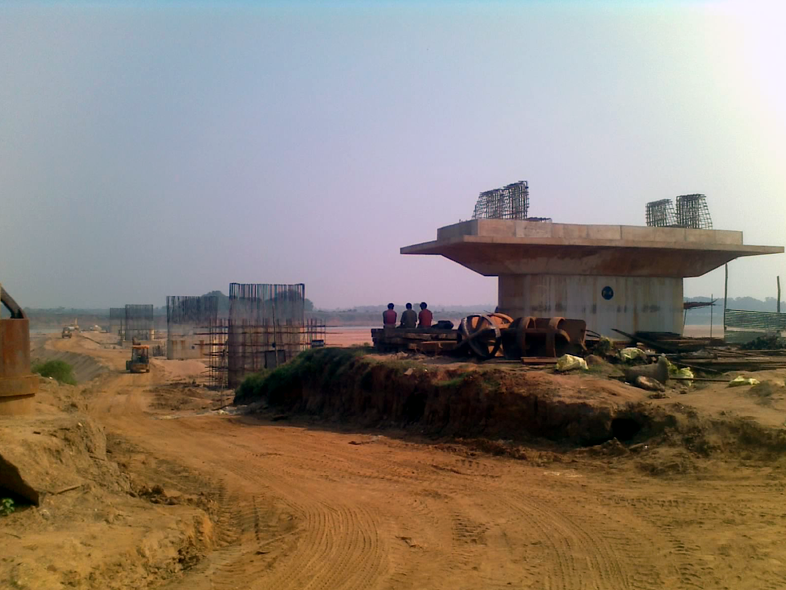 Ongoing Rail Bridge work on Brahmani River for Angul-Sukinda Rail Line as on August 2012