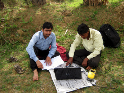 ASRL Field Inspection Team Feeding the Data with the help of GPS for Government Land