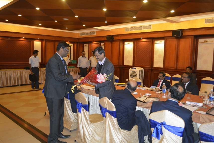 Mr Srimanta Baboo, CS/ASRL welcoming Mr Sharad Verma, CGM, Eastern Region, CONCOR to the Board of ASRL