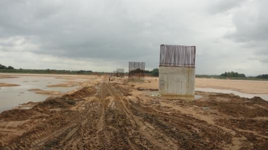 Ongoing Rail Bridge work on Brahmani River for Angul-Sukinda Rail Line.