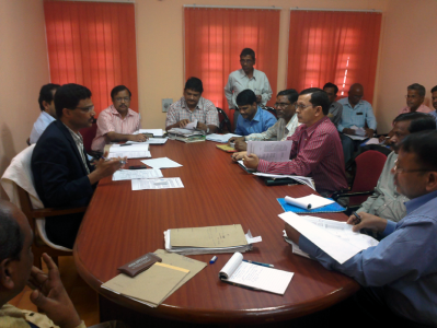 Review meeting on Land Acquisition of Angul-Sukinda Railway Line held on December 14, 2012. Abbended by Revenue Divisional Commissioner (Central), MD/ASRL, CPM-III(RVNL) and District Collectors and DFOs